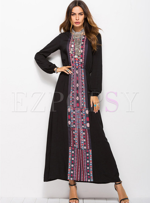 Fashion Black Crew-neck Long Sleeve Printed Maxi Dress
