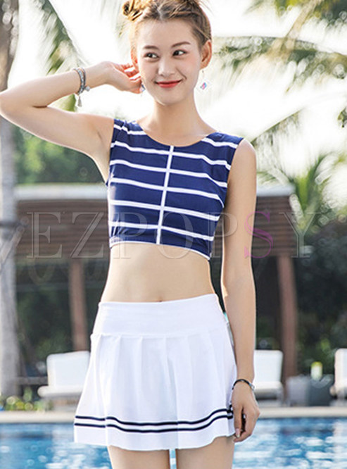O-neck Sleeveless Striped High Waist Tankini