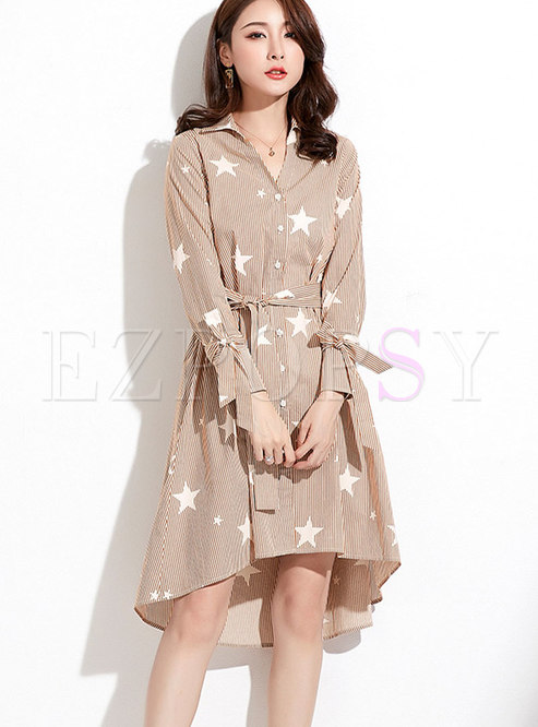 Brief Solid Color Star Pattern Striped T-Shirt Dress