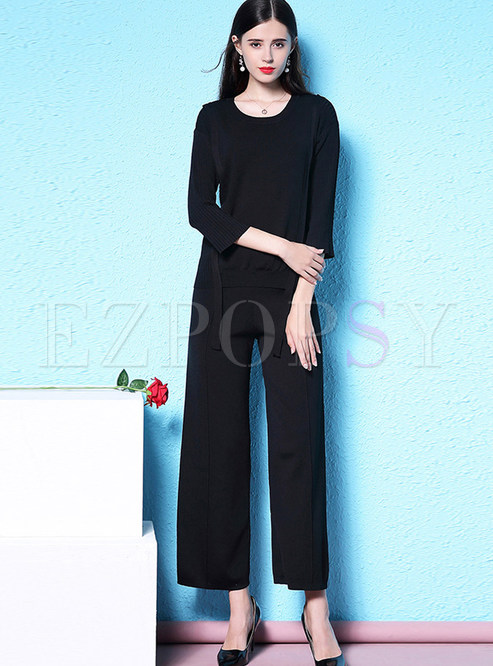 Casual Solid Color O-neck Knitted Two Piece Outfits