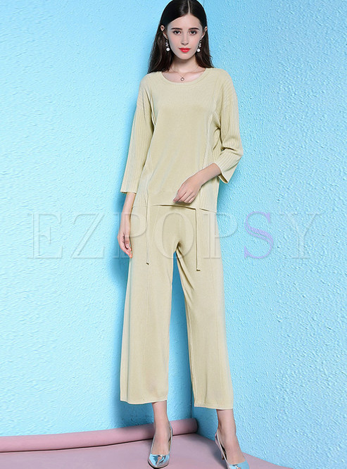 Brief Casual O-neck Pullover Top & Loose Wide Leg Pants