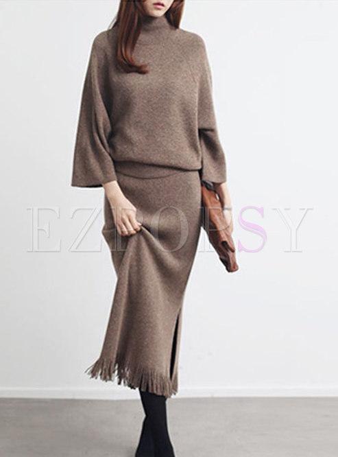 Fashion Turtle Neck Top & High Waist Split Skirt
