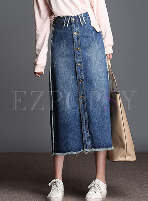 High Waist Single-breasted Plus Size Midi Skirt