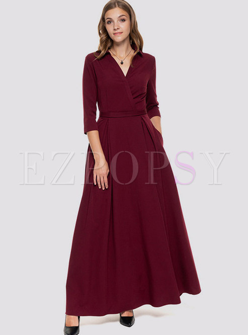 Three Quarters Sleeve Pure Color Big Hem Maxi Dress
