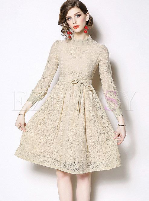 Brief Solid Color Long Sleeve Waist Lace Dress