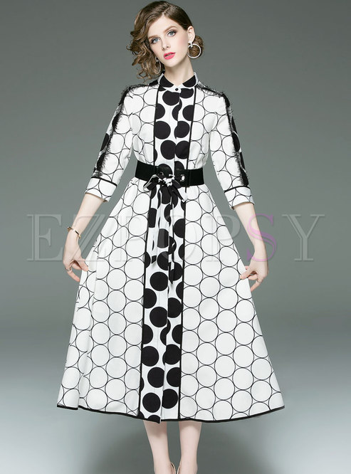Stylish Black-white Blocked Dots Tie-waist Dress