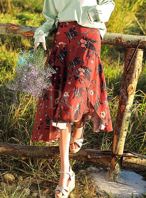 Stylish Red Chiffon All-matched Asymmetric Skirt