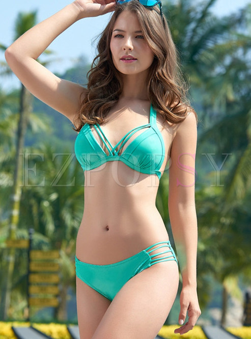 Fashion Halter Tied Pure Color Triangle Bikini