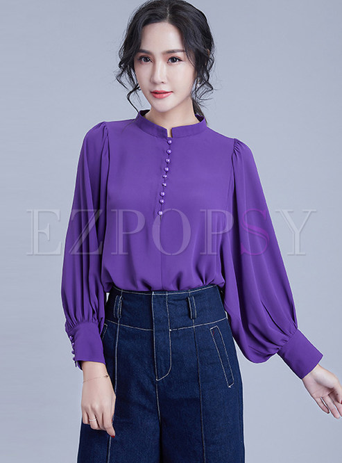 Loose Standing Collar Long Sleeve Chiffon Blouse