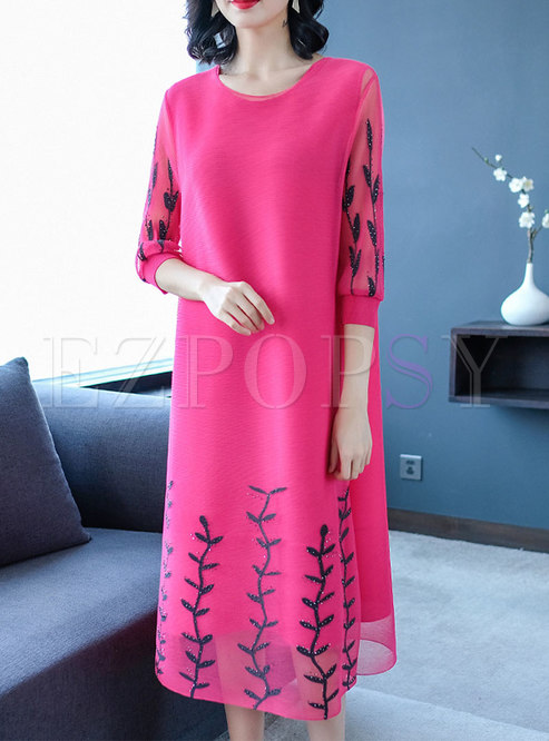 Fashion Solid Color Half Sleeve Beaded Dress