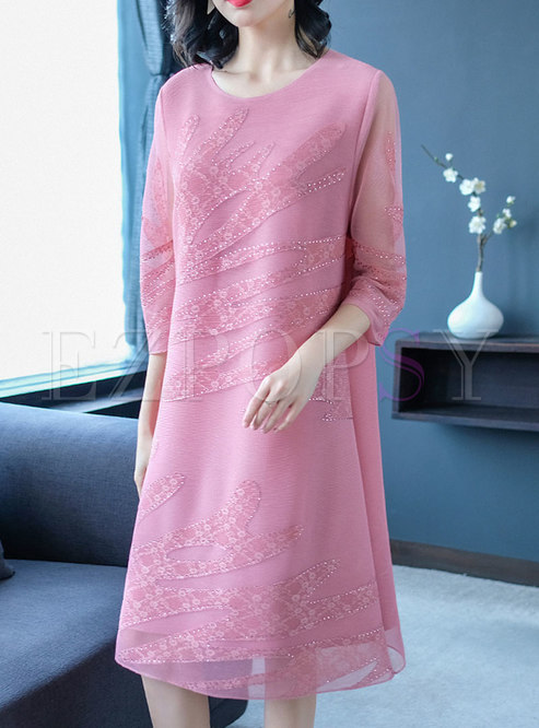 Pink Three Quarters Sleeve Plus Size Midi Dress