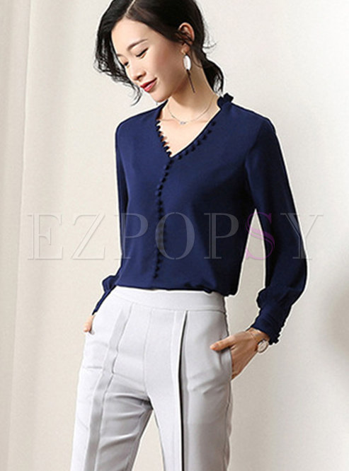 Pure Color V-neck Single-breasted Slim Blouse