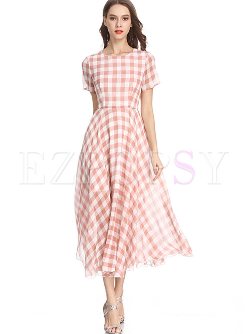 O-neck Short Sleeve Waist Plaid Big Hem Maxi Dress