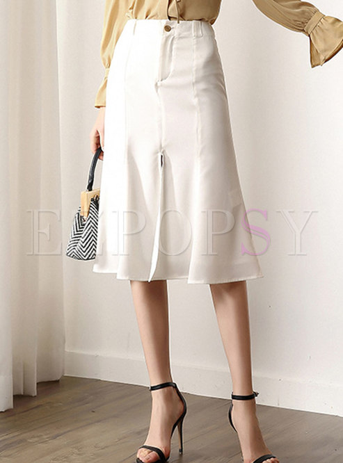 Elegant White High Waist Slit Knee-length Skirt