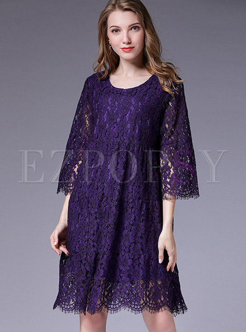 Trendy Lace Paneled Loose Plus Size Mini Dress