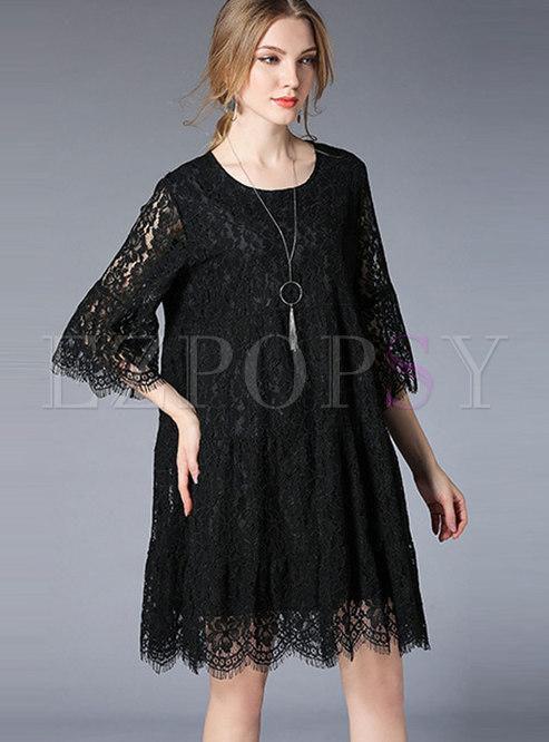 Trendy Lace Paneled Loose Plus Size Mini Dress