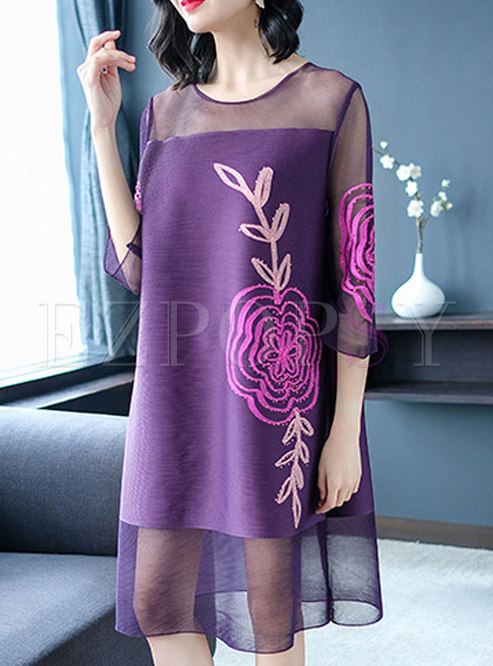 Fashion Solid Color Plus Size Mesh Perspective Dress