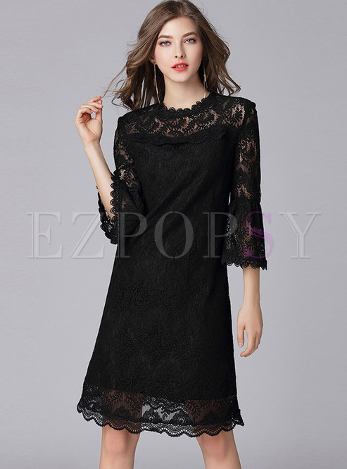 Solid Color Standing Collar Flare Sleeve Lace Dress