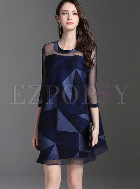 O-neck Geometric Print Plus Size Pleated Dress