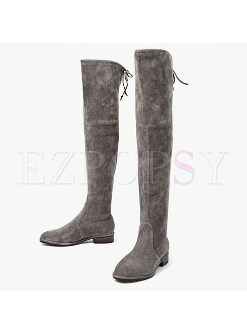 Stylish Winter Elastic Over-the-knees Leather Boots