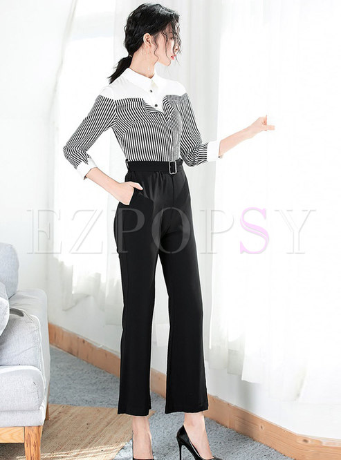 cae2d4a2f3be Pants.   Trendy Striped Blouse Fake Two-piece Jumpsuits