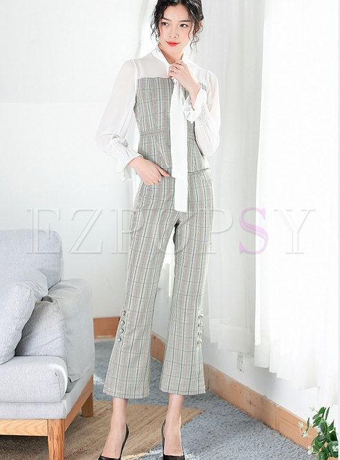 Spring Tie-neck Bowknot Top & Pinstriped Wide-leg Pants