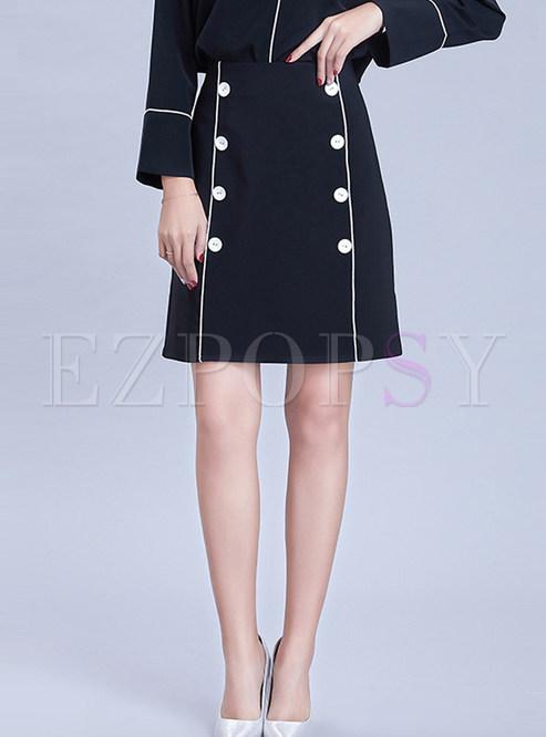 High Waist Double-breasted Mini A Line Skirt