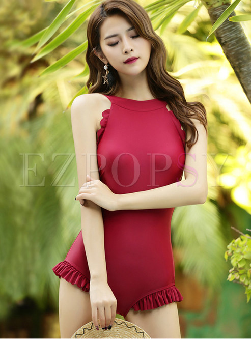 Solid Color Backless Falbala Bodycon One Piece Swimwear