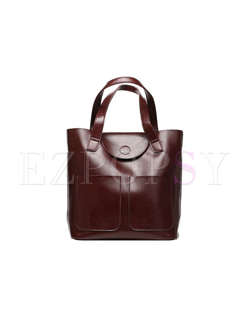 Fashion Coffee Cowhide Zipper Pocket Top Handle Bag
