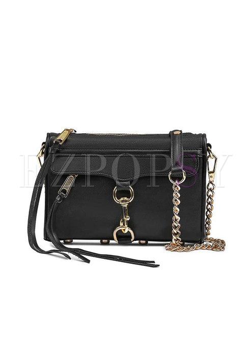 Black Genuine Leather Plaid Chain Crossbody Bag