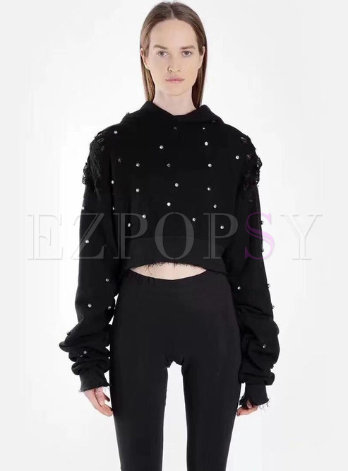 Fashion Black Cotton Long Sleeve Short Hoodies