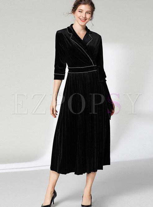 Fashion Notched Three Quarters Sleeve Maxi Dress