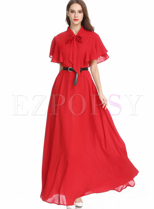 Elegant Bowknot Tied Ruffled Sleeve Big Hem Maxi Dress