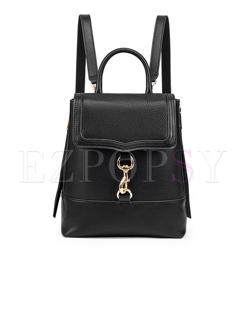 Trendy Black Genuine Leather Cotton Backpack