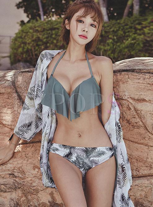 Fashion Color-blocked Falbala Print Cover-up Swimwear