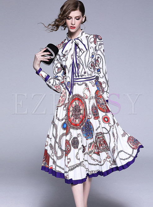Court Standing Collar Tied Waist Pleated Print Dress