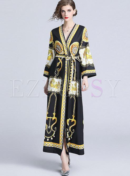V-neck Loose Long Sleeve Tie-waist Maxi Dress