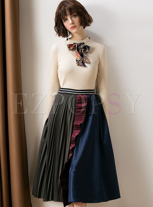 Fashion Tie-neck Bowknot Knitted Top & Hit Color Shirred Skirt