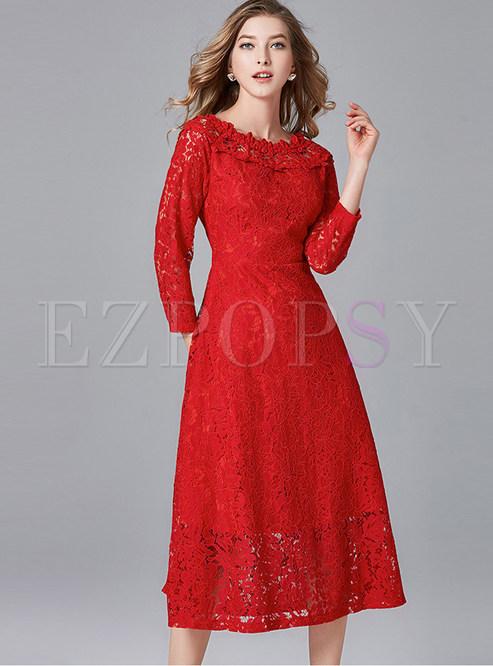 Elegant Slash Neck Long Sleeve Big Hem Cocktail Dress