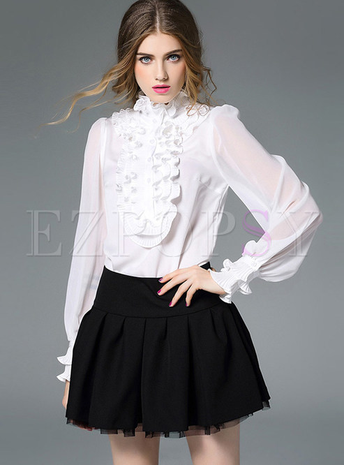 Court Solid Color Long Sleeve Perspective Blouse