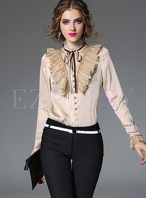 Elegant Standing Collar Bowknot Tied Falbala Blouse
