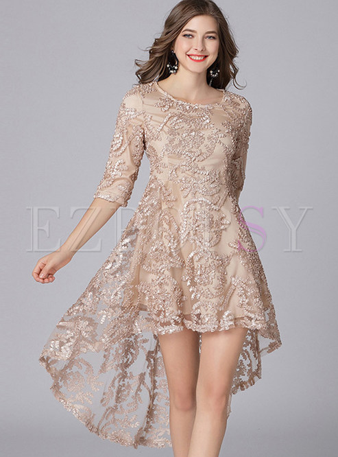 Party O-neck Lace Waist Irregular Big Hem Dress