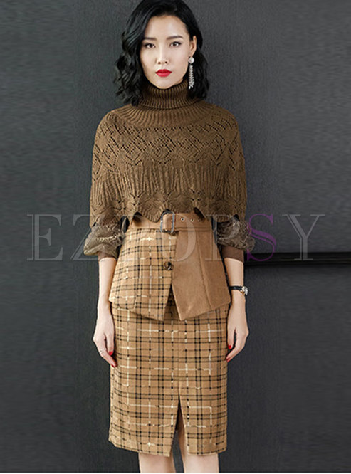 Trendy Crew-neck Top With Cloak & Plaid High Waist Skirt