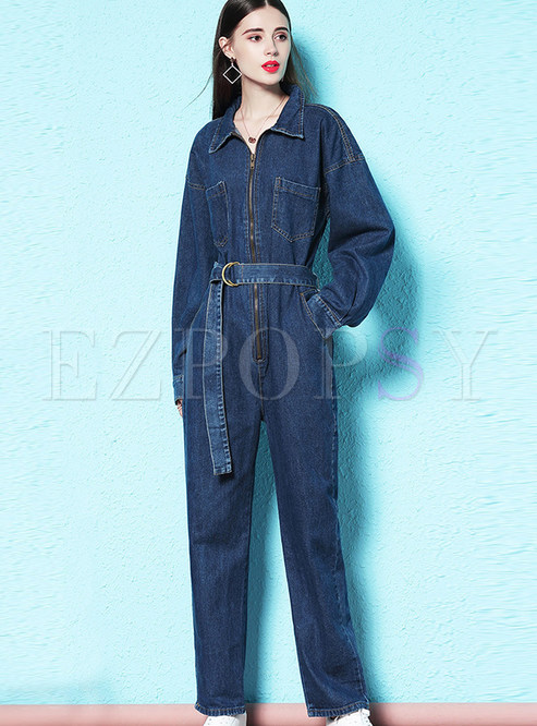 Trendy Lapel Long Sleeve Tie-waist Denim Jumpsuits