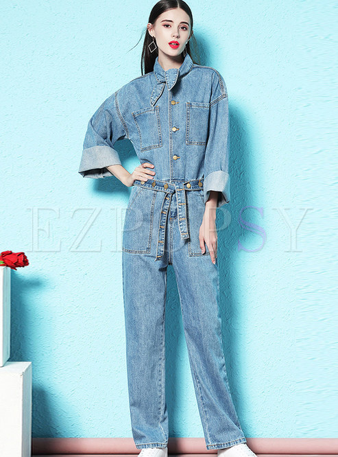 Stand Collar Single-breasted Loose Straight Jumpsuits