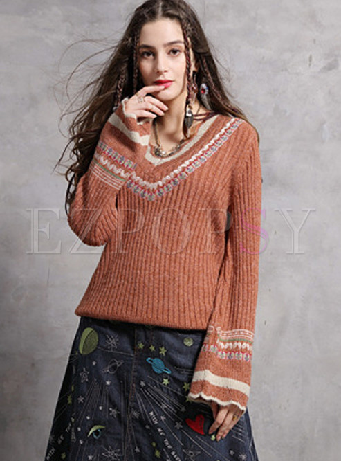 Casual V-neck Flare Sleeve Embroidered Pullover Sweater