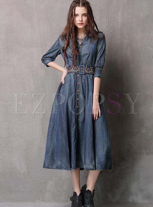 Vintage V-neck Half Sleeve Single-breasted Waist Denim Dress