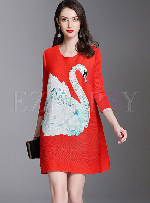 Three Quarters Sleeve Beaded Animal Print Plus Size Dress