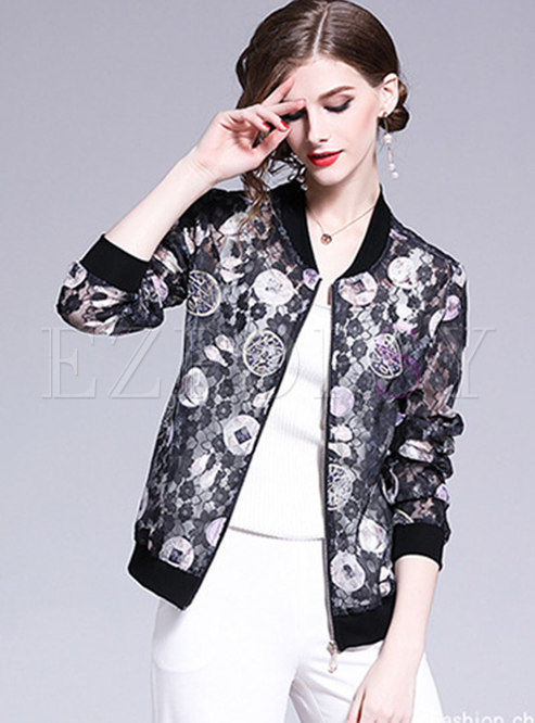 Chic Stand Collar Print See-through Short Coat