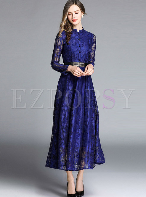 Retro Solid Color Standing Collar Long Sleeve Lace Dress